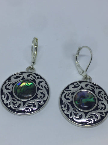 Vintage Handmade Silver Rainbow Abalone Earrings