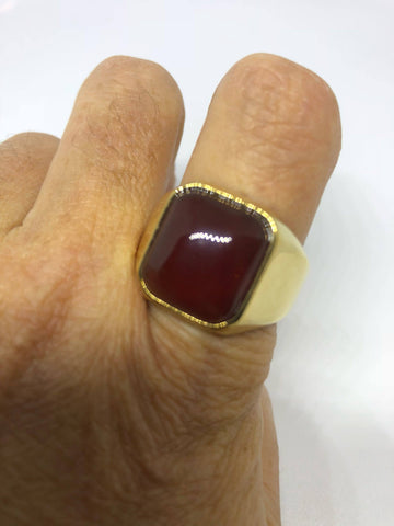 Vintage Gold Finished Genuine Red Carnelian Mens Ring