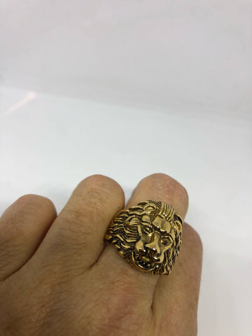 Vintage Gothic Golden Leo Lion Head Men's Ring