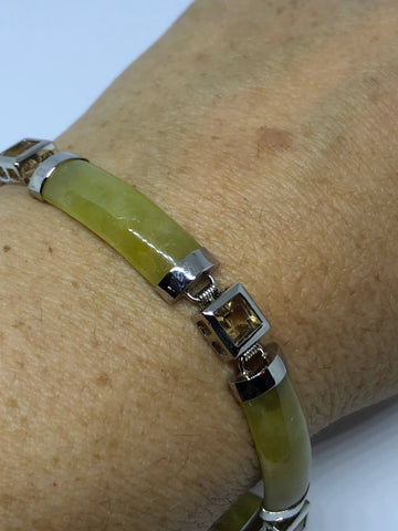 Vintage Handmade mosaic of Golden Citrine and Yellow Jade Rhodium Finished Sterling Silver Statement Bracelet