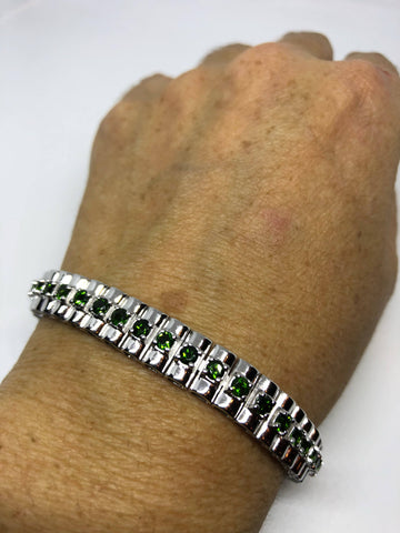 Vintage Handmade Green Tourmaline  Rhodium Finished Sterling Silver Tennis Bracelet