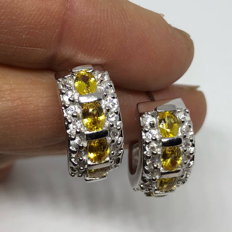 Vintage Citrine Earrings 925 Sterling Silver Deco Stud Button