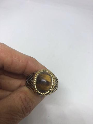 Vintage Gothic Gold Finished Stainless Steel Genuine Tigers Eye Ring