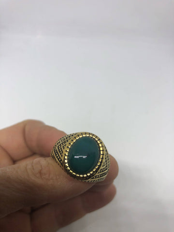 Vintage Gothic Gold Finished Genuine Green Chrysopraise Mens Ring
