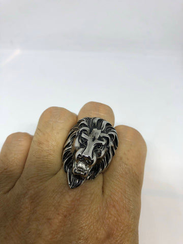 Vintage Gothic Silver Stainless Steel Lion Head Mens Ring