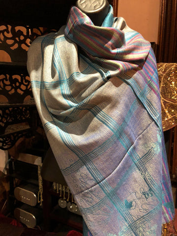 Vintage Teal Purple Butterfly Brocade Pashmina Scarf Wrap