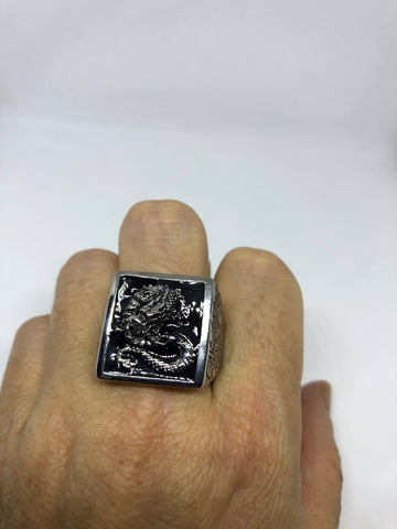 Vintage Gothic Silver Stainless Steel Dragon Mens Ring