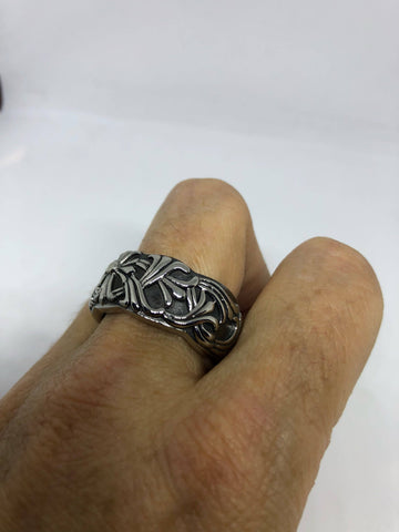 Vintage Celtic cross stanless steel band Ring