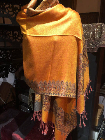 Vintage Orange Gray Paisley Brocade Pashmina Scarf Wrap Shawl