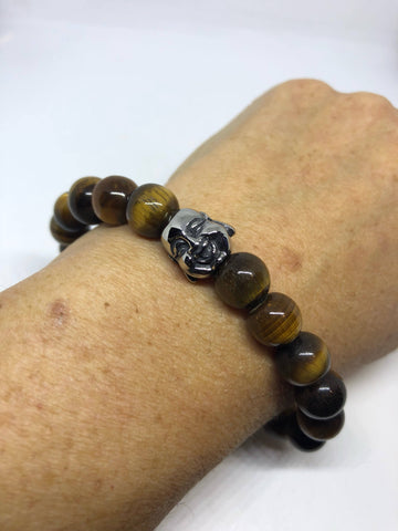Vintage style unisex men's tigers eye stretch skull bracelet