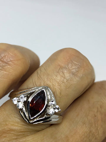 Vintage Bohemian Garnet Ring white sapphire 925 Sterling Silver Cocktail Statement