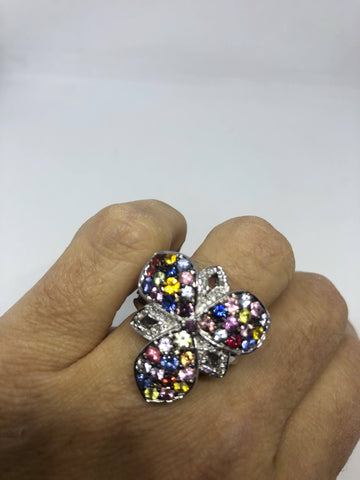 Vintage Handmade Pink and mixed color Tourmaline 925  Sterling Silver gothic Ring