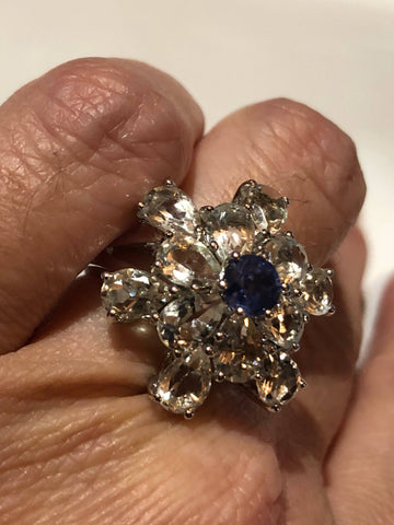 Vintage Handmade blue Iolite and Aquamarine setting 925 Sterling Silver gothic Ring