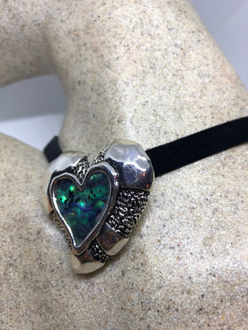 Blue Handmade Gothic Styled Silver Finished Genuine Abalone Heart Choker Necklace