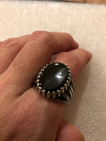 Vintage 1970 Gothic Sterling silver Genuine Black Onyx Men's Ring