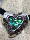 Blue Handmade Gothic Styled Silver Finished Genuine Abalone Valentines Heart Choker Necklace