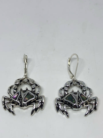 Vintage Handmade Silver Rainbow Abalone Cancer Crab Earrings