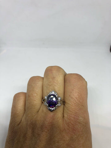 Vintage Handmade Genuine purple Amethyst Filigree setting 925 Sterling Silver gothic Ring