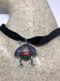 Handmade Gothic Styled Silver Finished Genuine Austrin Crystal insect bug Choker Necklace