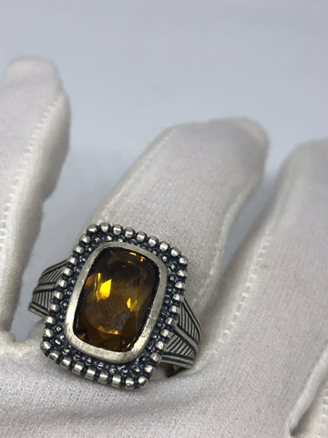Vintage Handmade Deep Smoky Topaz Setting 925 Sterling Silver Gothic Ring