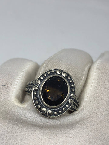 Vintage Smoky Topaz Setting 925 Sterling Silver Gothic Ring