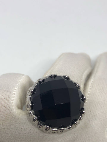 Vintage Genuine Black Onyx 925 Sterling Silver Statement Ring