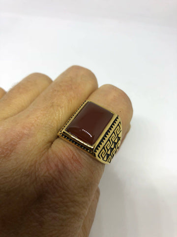 Vintage Gothic Gold Finished Genuine Red Carnelian Mens Ring