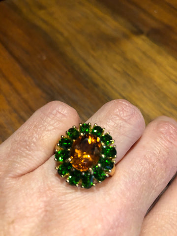 Vintage Handmade Genuine Green Chrome Diopside Citrine Filigree Setting 925 Sterling Silver Gothic Ring