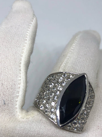 Vintage Handmade Genuine Green tourmaline  White Sapphire Filigree Setting 925 Sterling Silver Gothic Ring