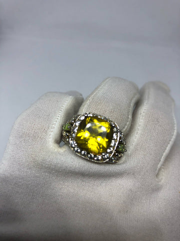 Vintage Handmade Genuine Citrine Peridot White Sapphire 925 Sterling Silver gothic Ring