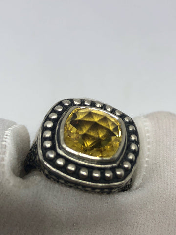 Vintage Handmade Genuine Citrine 925 Sterling Silver gothic Ring
