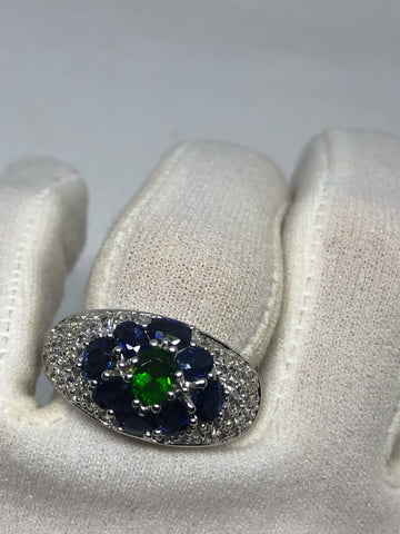 Vintage Handmade deep blue sapphire and chrome diopside setting 925 Sterling Silver gothic Ring