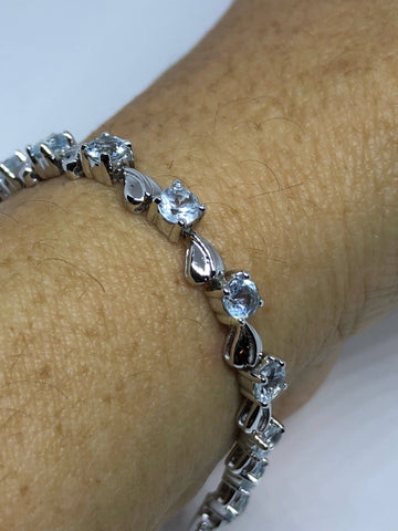 Handmade Genuine Blue Aquamarine 925 Sterling Silver Tennis Bracelet