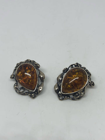 Handmade Vintage Genuine Baltic Amber Sterling Silver clip on button earrings