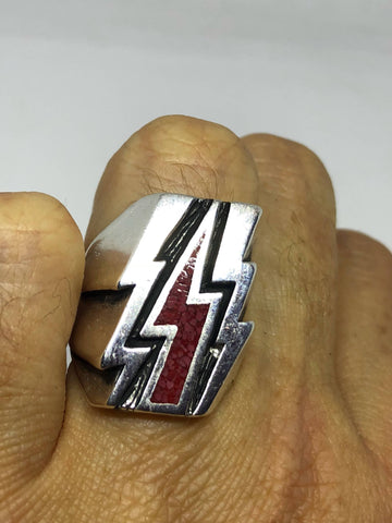 Vintage Southwestern Red Coral Inlay Lighting Bolt Mens Motorcycle Ring