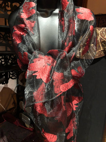 Vintage Styled Sheer black and red wrap Shawl