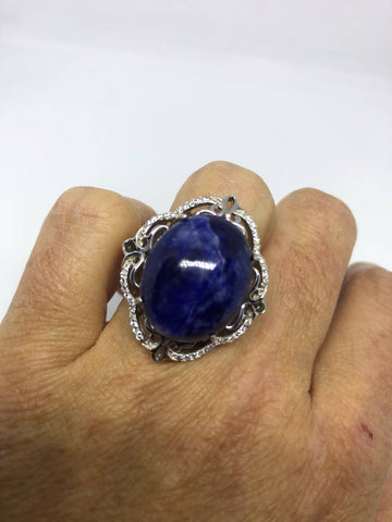 Vintage 1960's Genuine Blue Sodalite 925 Sterling Silver Statement Ring