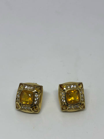 Vintage Orange Fire Opal Earrings Golden 925 Sterling Silver button studs