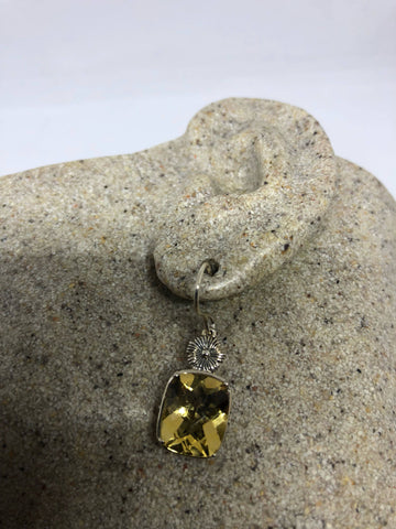Vintage Genuine Citrine Gemstone 925 Sterling Silver Drop earrings