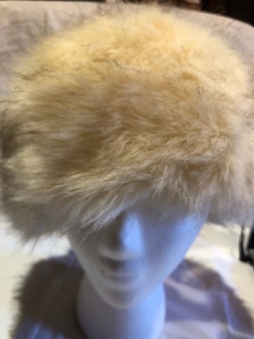 Vintage ivory faux fox fur Russian Deco Trapper Hat