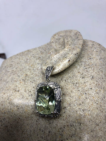 Vintage Genuine Green Amethyst 925 Sterling Silver Chandler dangle earrings