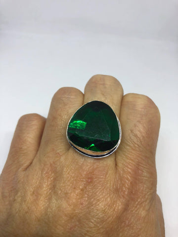 Vintage Green Antique Glass Cocktail ring
