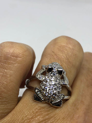Vintage 1970's 925 Sterling Silver Crystal Frog Ring
