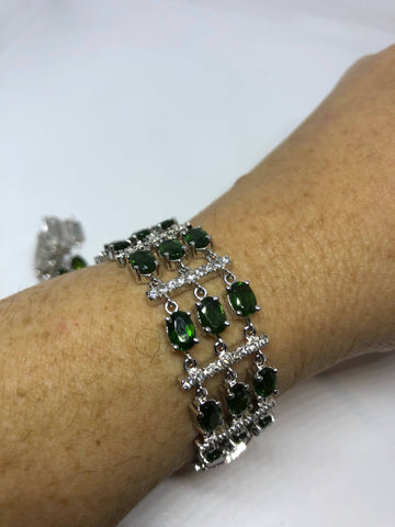 Vintage Victorian Style Sterling Silver Filigree Green Chrome Diopside Statement Bracelet