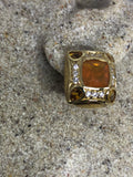 Vintage Genuine orange Fire Opal 925 Sterling Silver stud earrings