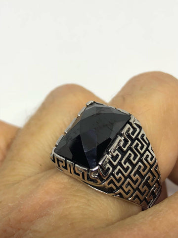 Vintage Onyx Mens Ring 925 Sterling Silver Gothic Genuine Black Onyx
