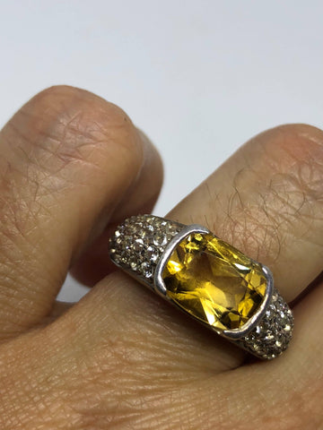 Vintage Golden Citrine Ring Deco Cocktail 925 Sterling Silver