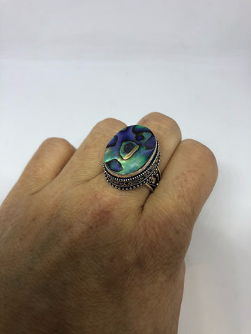 Antique green abalone Gothic fillgree  silver ring
