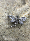 Real Clear Crystal Cubic Zirconia Dragonfly Marcasite 925 Sterling Silver Button  earrings