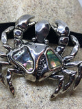 Blue Handmade Gothic Styled Silver Finished Genuine Abalone Sea Crab Cancer Choker Necklace